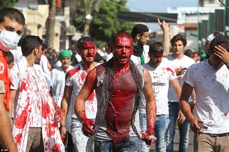shi ite muslim boys self flagellate with sharp blades for
