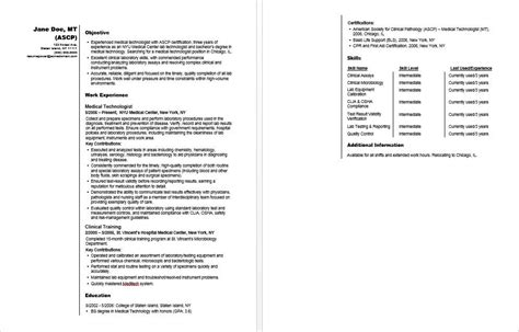 Med Tech Resume Template by Technologist Sle Resume