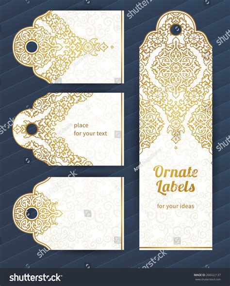 ornate card templates vintage ornate cards style golden stock vector