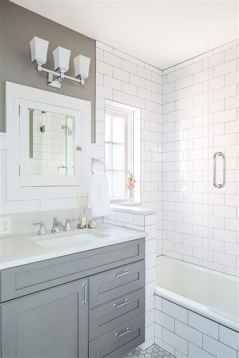 1930s bathroom design gray with white subway tiles in updated 1930s bathroom