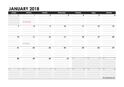 Free Daily Calendar Template 2018