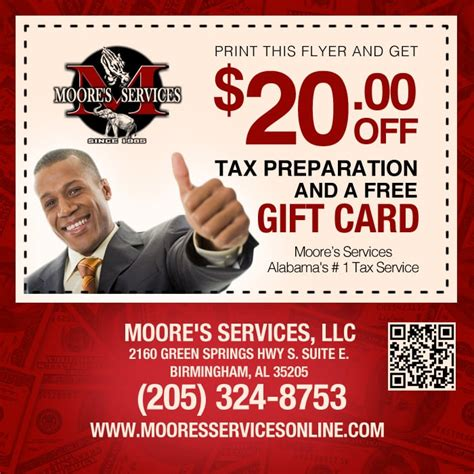 Tax Free Gift Cards - print this flyer and get 20 00 off tax preparation and free gift card yelp