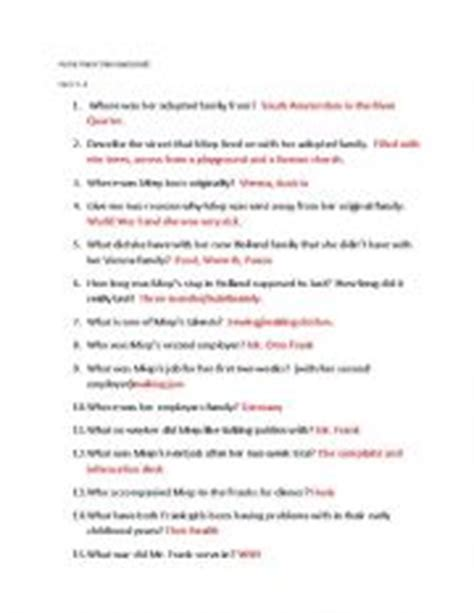 anne frank biography and questions english worksheets anne frank remembered quiz chapters 1 4