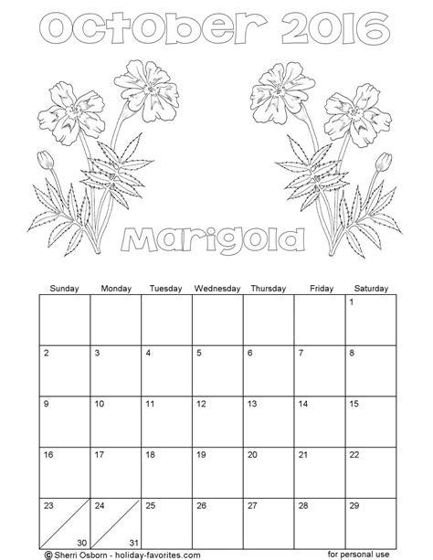 printable calendar 2016 flowers printable october 2016 calendars holiday favorites