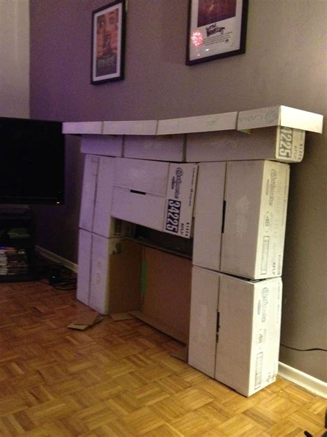 How To Make A Cardboard Fireplace For by Made Myself A Fireplace Out Of Cardboard Craft Holidays