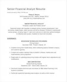 senior financial analyst sle resume sle resume pricing analyst