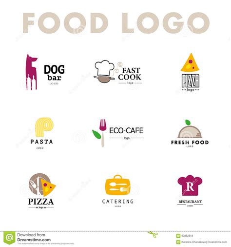 Vector Set Of Restaurant Logo Design Templates. Stock