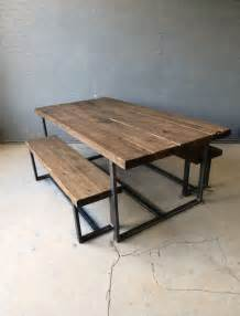 Industrial Dining Table And Chairs Reclaimed Industrial Chic 6 8 Seater Solid Wood And Metal Dining Tabl