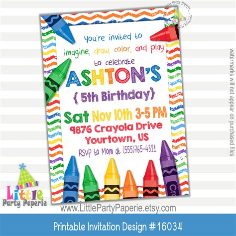 Art Party Invitation Crayons Party Digital Print At Home Crayon Invitation Template