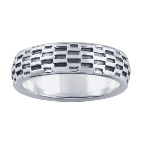 sterling silver 5 7mm oxidized mesh chain pattern band ring