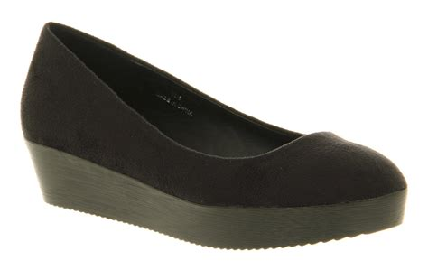 platform flats shoes womens office monumental platform 2 black microfibre flats