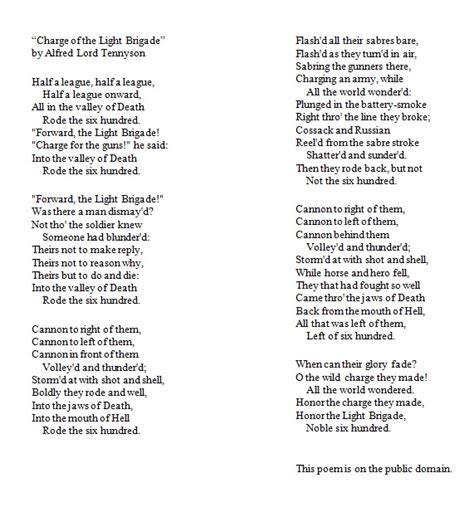 charge of the light brigade analysis opinions on the charge of the light brigade poem