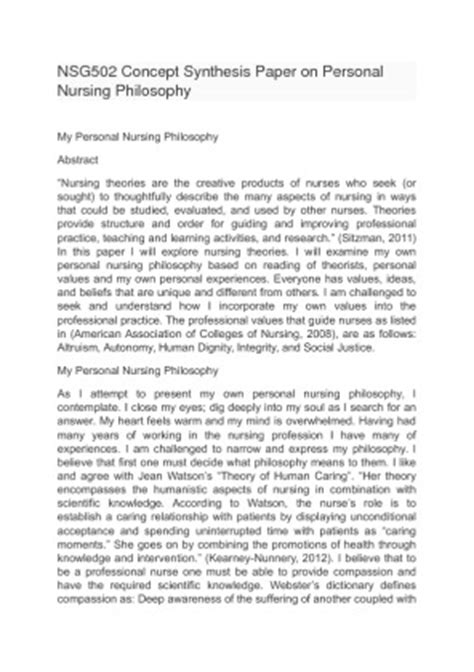 nsg502 concept synthesis paper on personal nursing philosophy