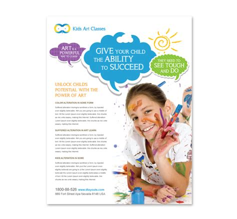 kids art classes flyer template dlayouts graphic design blog