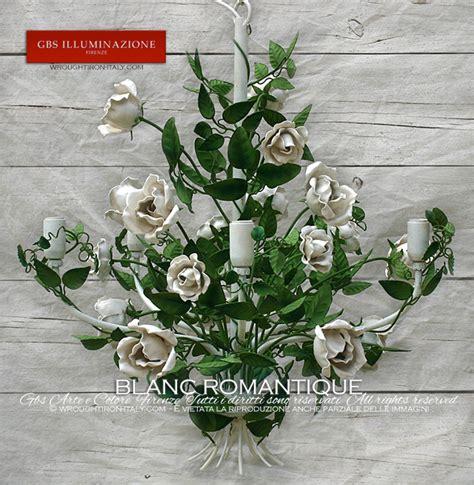 lustre romantique blanc romantique gbs illuminazione ferro battuto