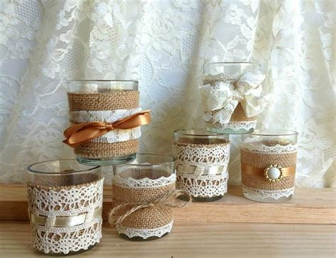 Home Vintage Decor by Burlap And Lace Covered Votive Tea Candles Country Chic