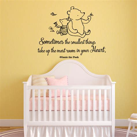 classic winnie the pooh wall stickers winnie the pooh quote wall decal sometimes the smallest