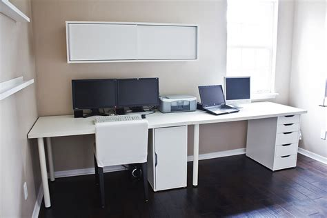 clean white computer desk setup from ikea linnmon adils