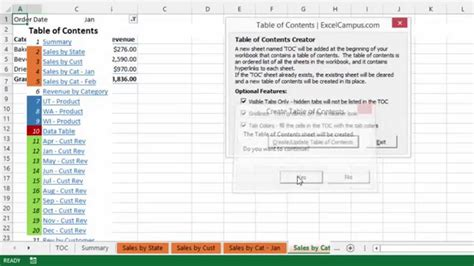 Table Of Content Exle create an table of contents in excel with tab hound