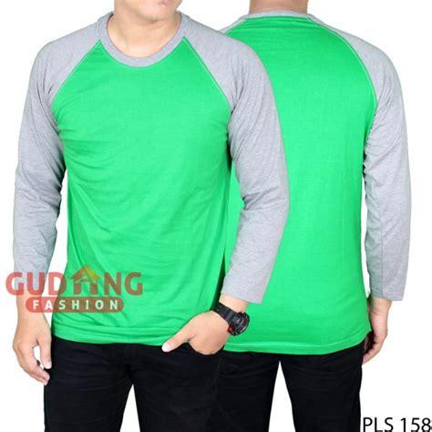 Kaos Hijau Pria kaos pria raglan panjang polos cotton combed hijau fuji