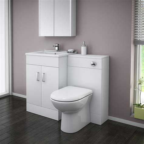 turin high gloss white vanity unit bathroom suite w1100 x
