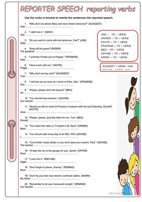 pattern of writing a speech reporter reporting verbs worksheet free esl printable