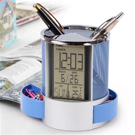 Calendar Pencil Holder Charm multifunction pen pencil holder digital calendar alarm clock time temp function metal mesh for