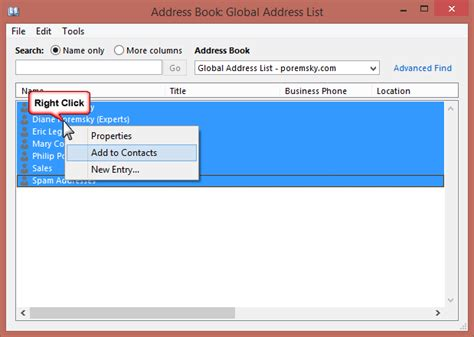 Add Global Address List Gal To Contacts In Outlook 2010 | copy gal addresses to outlook and make the gal portable