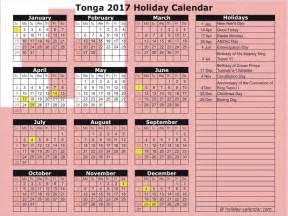 2017 And 2018 Calendar With Holidays Tonga 2017 2018 Calendar