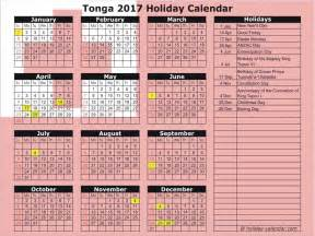 tonga 2017 2018 calendar