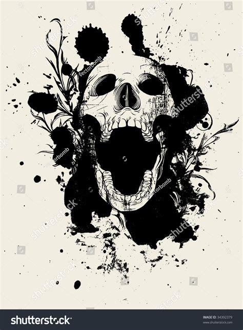 Skull Collage Design Outline by Image Gallery Ink Splatter Skull