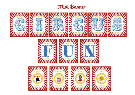 printable mini banner free circus birthday party printables from printabelle