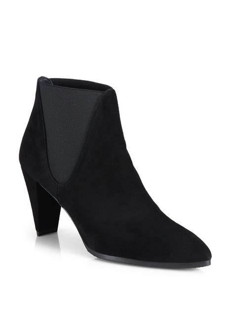 stuart weitzman scooped stretchy suede ankle boots in