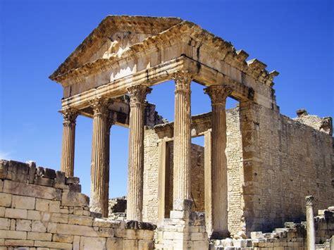 top of the l dougga tunisie patrimoine mondialde l unesco