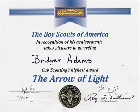 arrow of light certificate template pin by lara hook on cub scouts arrow of lights arrow of
