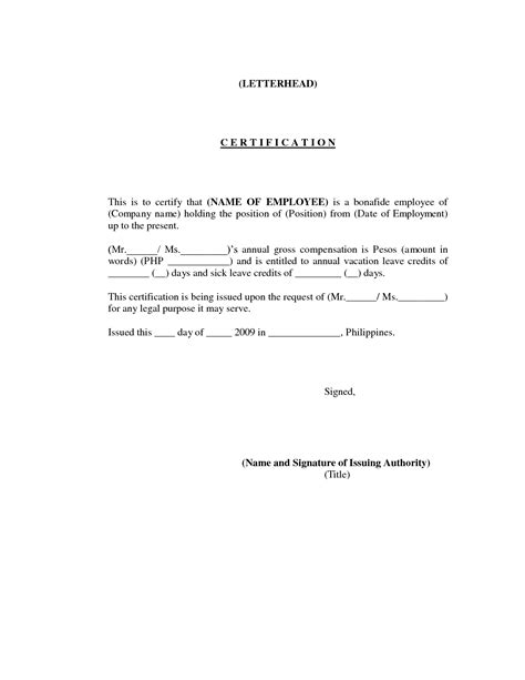 certification of employment letter format sle letter certificate of employment sle business