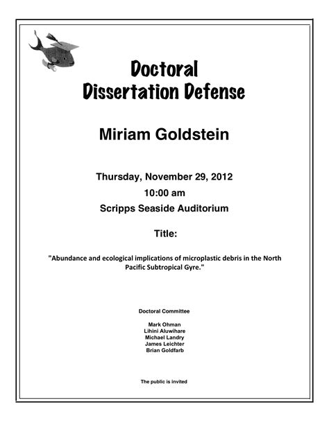 how is a doctoral thesis invitation to my doctoral defense sea news