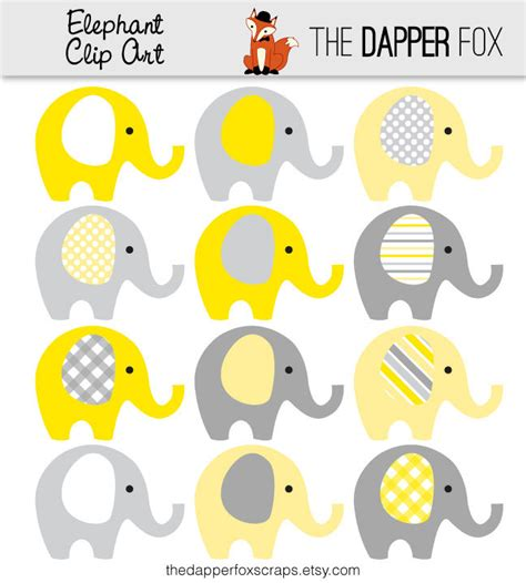 Ready Instan Yellow yellow and grey elephant clip instant boy or baby shower clipart elephants