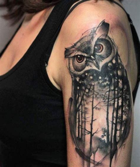 black owl tattoo inkstylemag