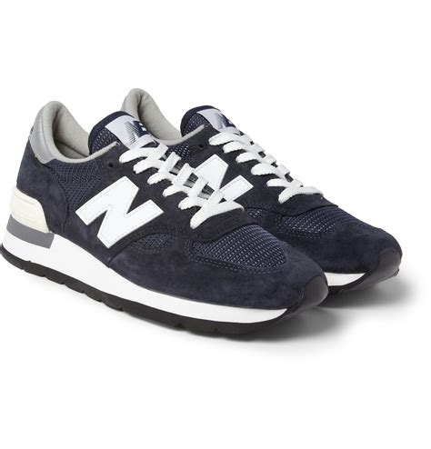 new balance sneakers new balance 990 nubuck and mesh sneakers in blue for