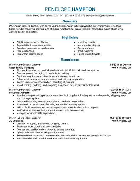 Sle Of A General Labor Resume best general labor resume exle livecareer