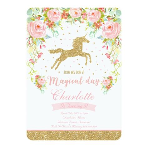 unicorn birthday invitation pink gold unicorn zazzle com