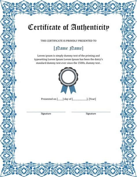 certificate of authenticity autograph template 37 certificate of authenticity templates car