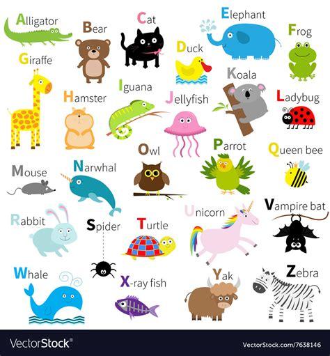 zoo animal alphabet character set vector image