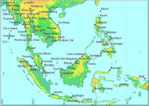 map of se asia climatological information for south east asia