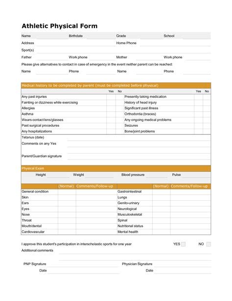 physical form 9 best images of printable physical form printable