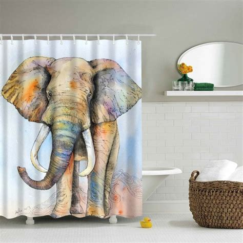elephant shower curtain waterproof elephant printed shower curtain colormix m in