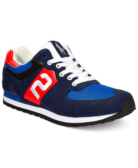 polo ralph mens sneakers polo ralph slaton number sneakers in blue for