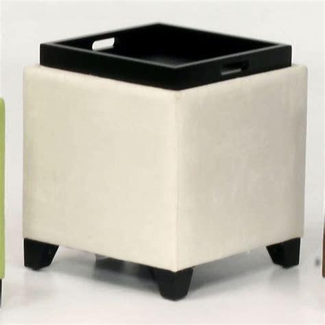 modern cube ottoman microfiber storage ottoman in cream contemporary