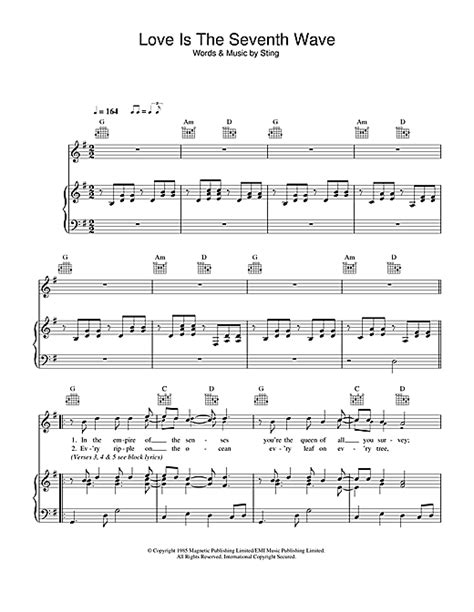 sting end of the game lyrics deutsch sting love is the seventh wave sheet music